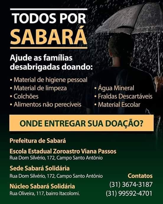 Vítimas da Chuva em Sabará poderão se cadastrar para receber donativos